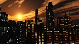 panorama of the night city, night skyscrapers against the sky view from below, 3d rendering