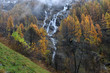 yellow larch and waterfalls in the autumnal Alps