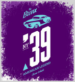 Vintage vehicle vector tee-shirt logo isolated on purple background. 