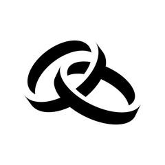 Icono plano anillos espacio negativo negro en fondo blanco