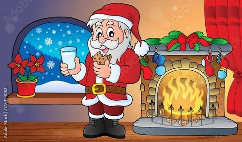 Deurstickers Voor kinderen Santa Claus breakfast theme 2