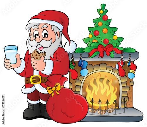 Deurstickers Voor kinderen Santa Claus breakfast theme 3