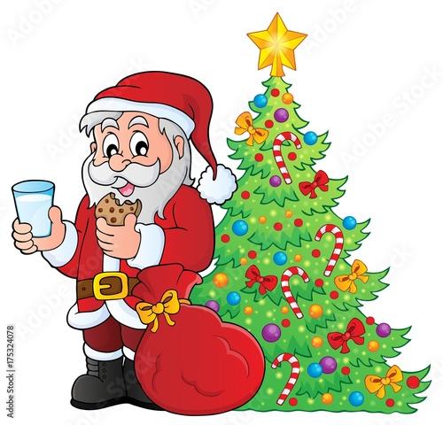 Deurstickers Voor kinderen Santa Claus breakfast theme 4