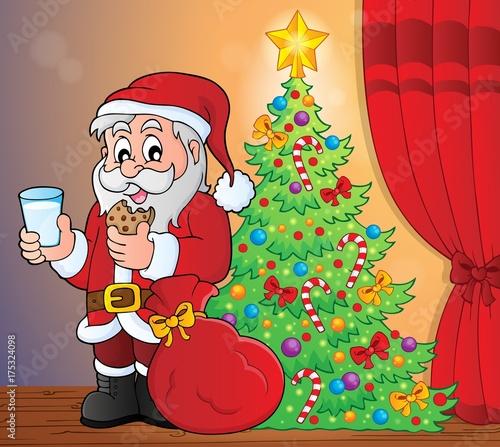 Deurstickers Voor kinderen Santa Claus breakfast theme 5