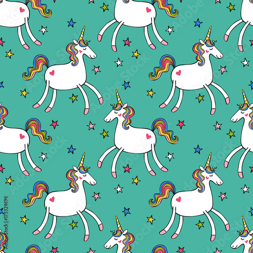 Cotton fabric Unicorn and stars. Seamless vector pattern (background).