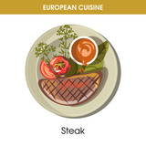 European cuisine meat steak traditional dish food vector icon for restaurant menu - 175324844