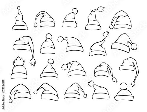 different shapes of christmas santa hats set in black color