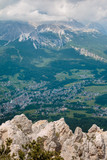 view from the Mountain of Typical Village in Italian Dolomites Alps - 175329896