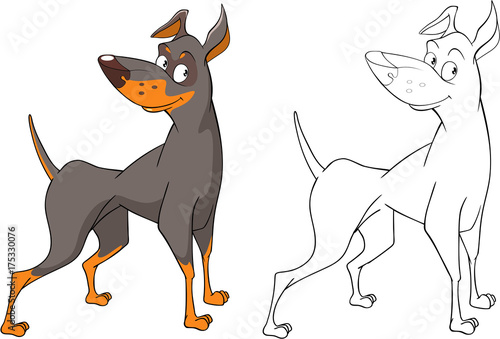 Foto op Plexiglas Babykamer Illustration of a Cute Hunting Dog. Cartoon Character