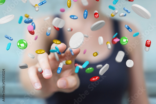 Deurstickers Wanddecoratie met eigen foto Businesswoman holding and touching floating medicine pills 3D rendering