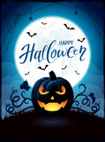 Halloween theme with Jack O Lantern on the moon background - 175332023