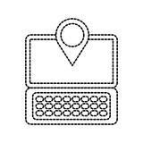 laptop communication pointer map navigation gps location app vector illustration - 175333687
