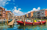 Venice old houses on Grand Canal embankment with street lamp - 175335633