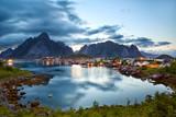 Reine fishing village at dusk in Lofoten Islands, Norway - 175336222