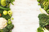 Top view of green vegetables and fruits