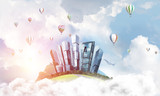 Concept of eco green life as elegant business center on white clouds - 175338683