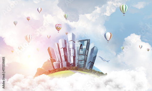 Poster Concept of eco green life as elegant business center on white clouds