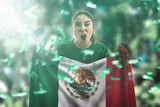 Mexican female fan holding the national flag - 175340632