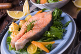 salmon with butter fried potato puree and salad - 175340884