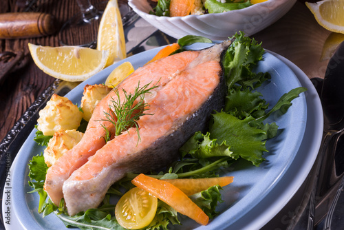 salmon with butter fried potato puree and salad