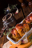 small Rolling roasts fully with dried fruit and bacon - 175341060