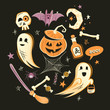 Halloween design vector decorations and characters.