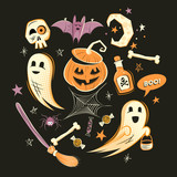 Halloween design vector decorations and characters. - 175342209