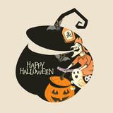 Halloween Pumpkin Silhouette spooky decorations! Vector illustration. - 175342249