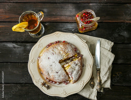 Apple pie on plate, tea, cranberry - 175343617