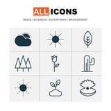 World Icons Set. Collection Of Seashell, Love Flower, Tree Leaf And Other Elements. Also Includes Symbols Such As Valentine, Sunny, Desert. - 175346876