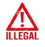 Roter Stempel auf weißem Hintergrund - Illegal - 175348405