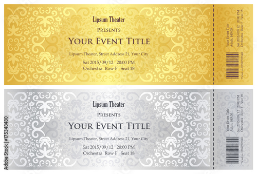 Luxury golden and silver theater ticket with vintage pattern - 175348480
