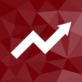 Pfeil nach oben - Icon mit geometrischem Hintergrund rot - 175356085