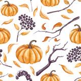 Seamless Pattern of Watercolor Pumpkins, Leaves and Viburnum - 175362216