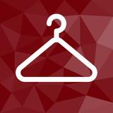 Kleiderbügel - Icon mit geometrischem Hintergrund rot
