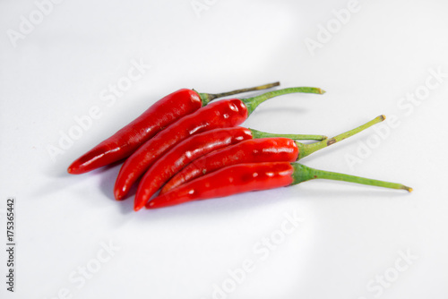 Foto op Aluminium Hot chili peppers Group of red chili peppers isolated on white background as package design element