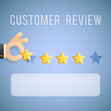 Customer experience review hand holding star template background cartoon design business concept vector illustration