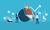 Business analysis. Flat design business people concept. Vector illustration for web banner, business presentation, advertising material. - 175367049