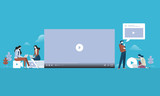 Video streaming. Flat design people and technology concept. Vector illustration for web banner, business presentation, advertising material. - 175367847