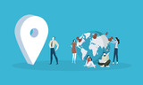 Location. Flat design people and technology concept. Vector illustration for web banner, business presentation, advertising material. - 175367867