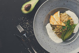Healthy greek cuisine lunch. Quinoa salad with cheese and vegeta - 175368426