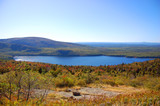 Bubble Pond of Acadia National Park panorama, Cadillac Summit, Maine, USA.
