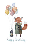 A cozy Happy Birthday card made in watercolor with illustration of a cute fox wearing a warm coat and knitted scarf, with balloons and lighted lantern. For a birthday of the dearest friend!