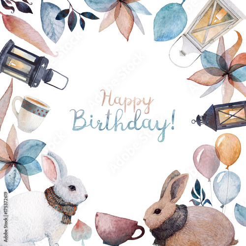 A Happy Birthday card frame with watercolor illustrations. Rabbits wrapped in knitted scarfs, lanterns, balloons, tea cups and fallen leaves. For a birthday of the dearest friend!