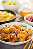 Spicy sweet and sour chicken with rice and cabbage - 175374865