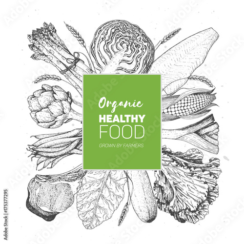 Healthy organic food vector illustration. Farm market label. Engraved style. Vegetables and meat hand drawn.