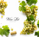 wine list background; sweet white grapes and leaf - 175379644