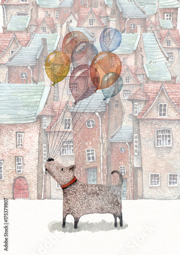 A watercolor illustration of a little dog holding a bunch of balloons, walking in an old town appearing on the background. - 175379807