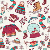 Cute christmas holiday doodle seamless pattern - 175380862