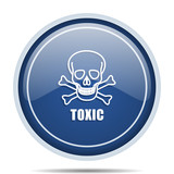Toxic skull blue round web icon. Circle isolated internet button for webdesign and smartphone applications. - 175381091
